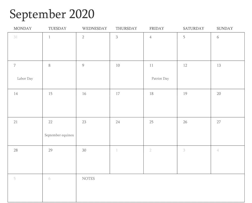 September 2020 Calendar with Holidays UK