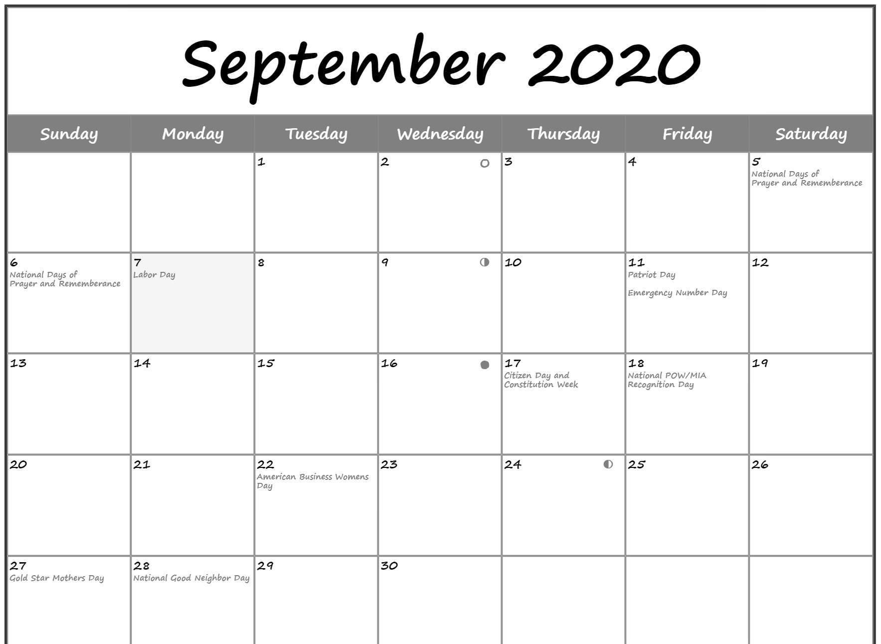 September 2020 Calendar with Holidays US