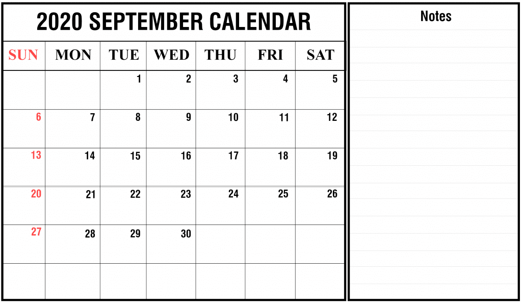 September 2020 Calendar with Notes