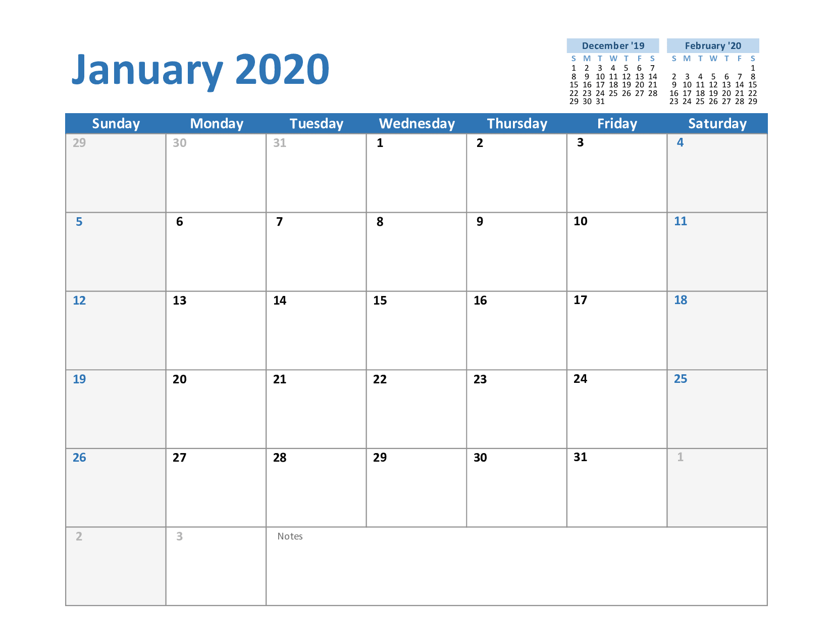 Calendar 2020 Template Word Free January Calendar 2020 Printable Template Blank In PDF Word Excel