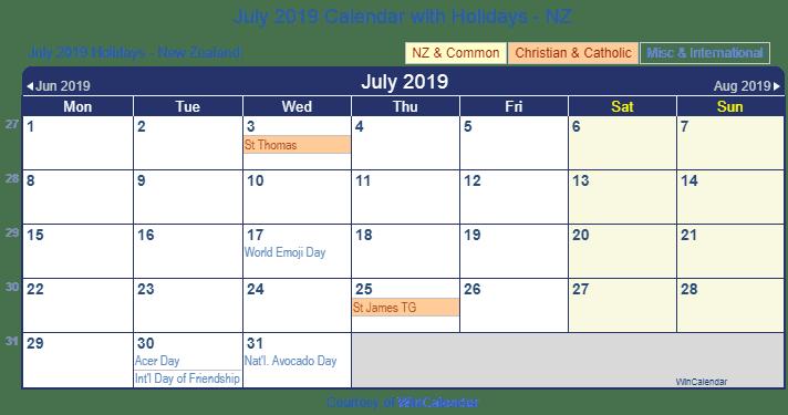 july 2019 calendar with holidays nz