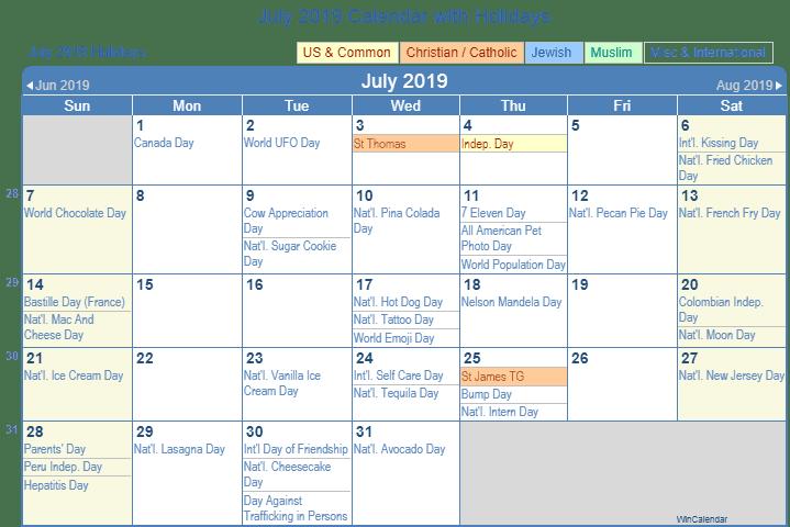 Get July Holidays 2019 Calendar Printable For USA UK Canada 1