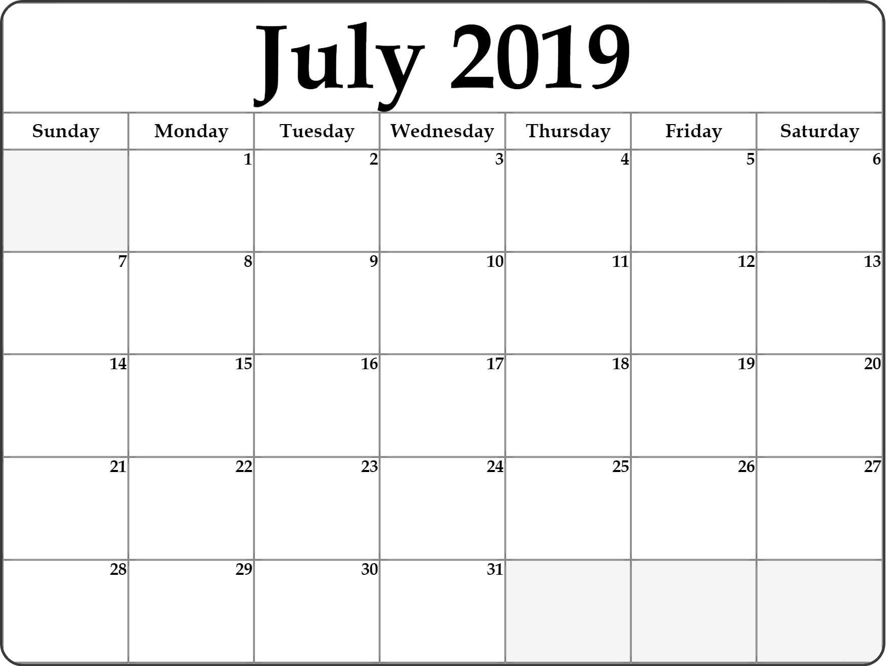 monthly calendar july 2019 template excel
