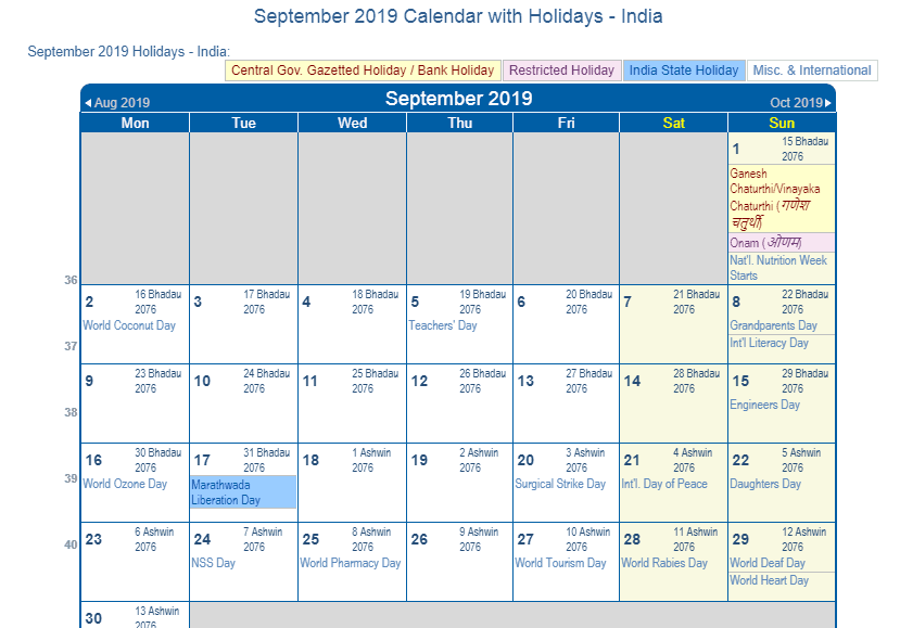 september 2019 calendar holidays India