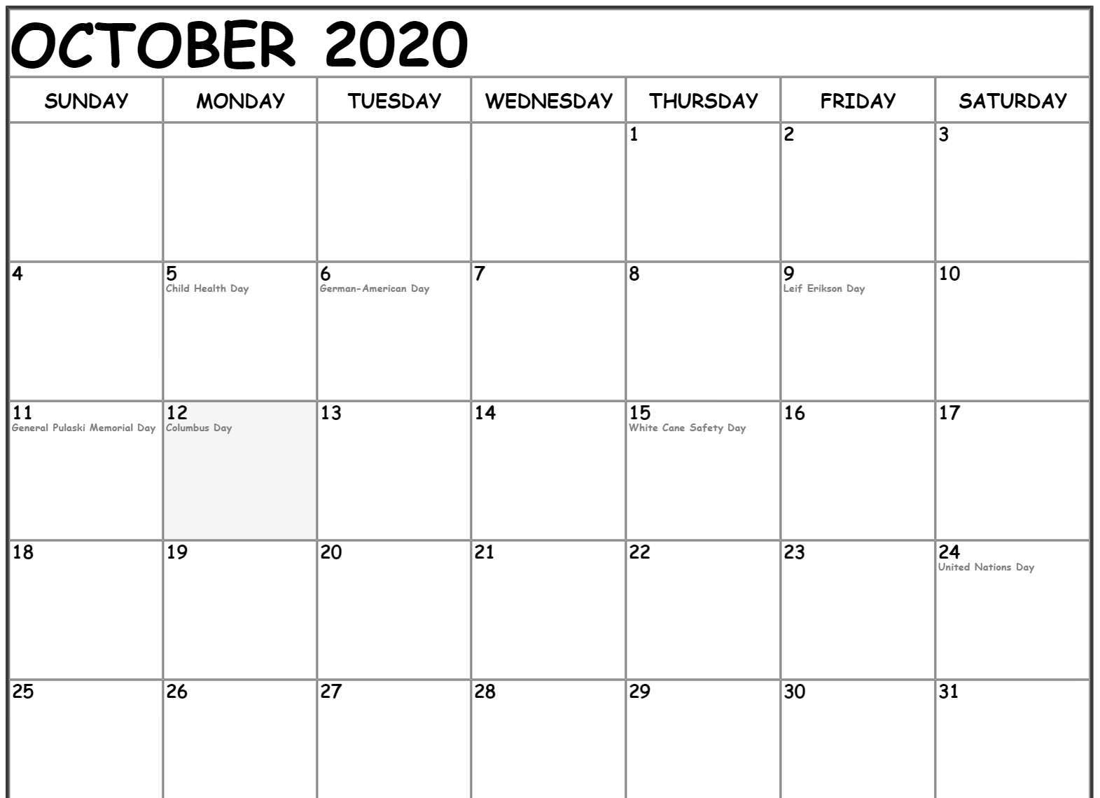 2020 October Calendar Holidays