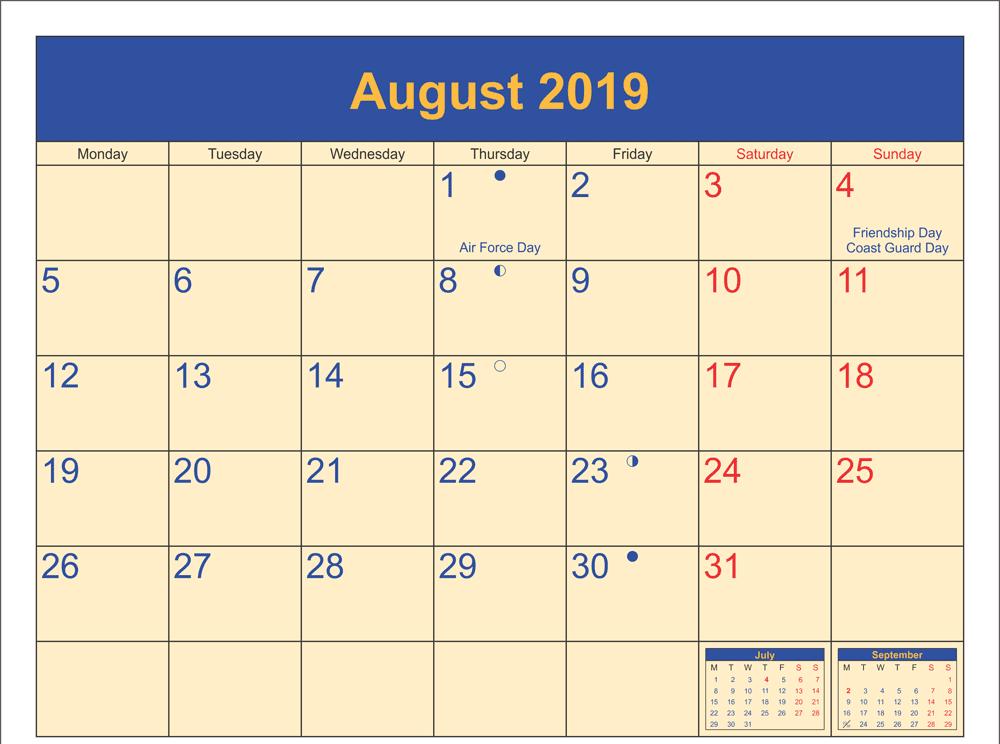 August 2019 Calendar with Holidays Canada