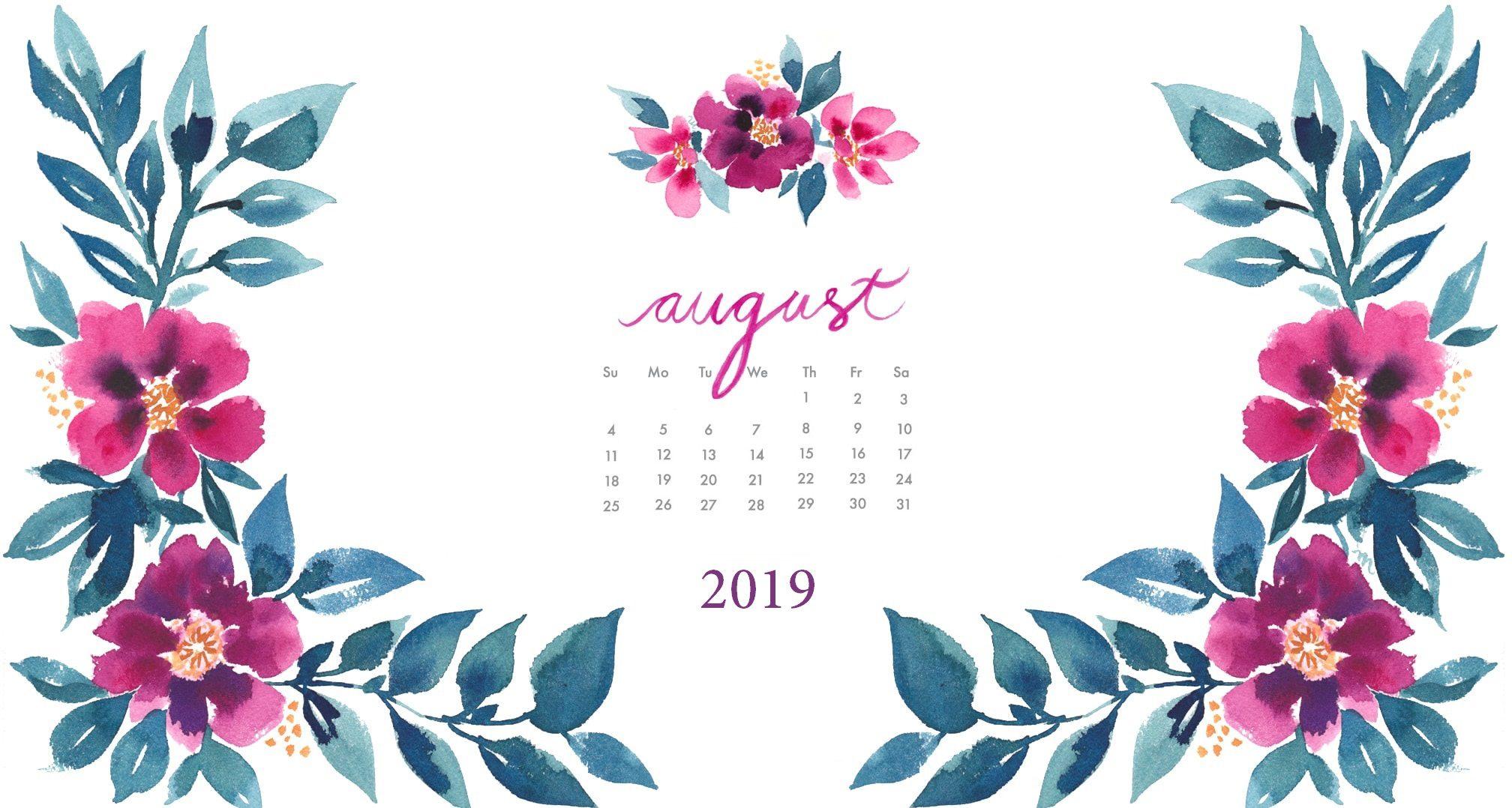 August 2019 Floral Desktop Wallpaper
