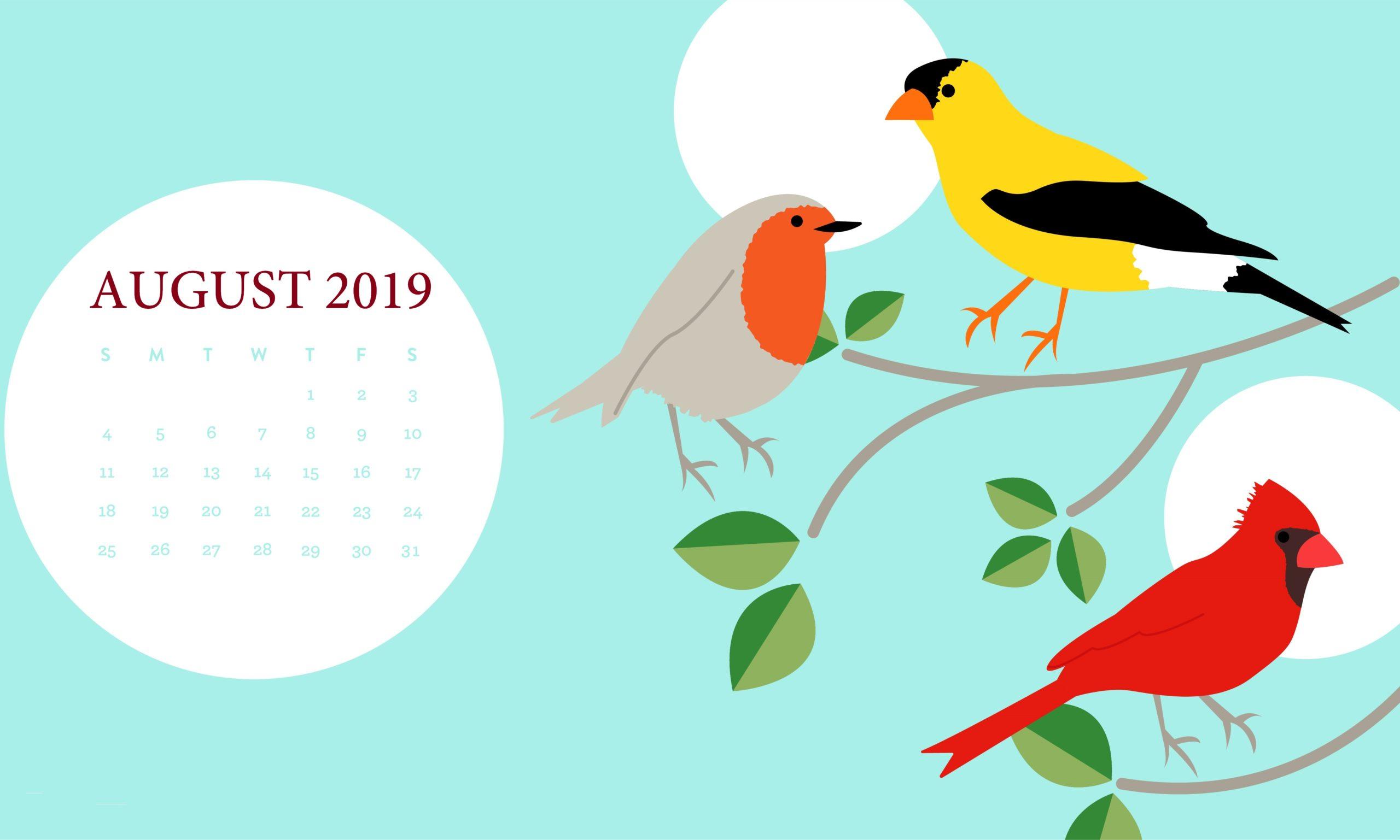 August 2019 HD Calendar Desktop Wallpaper