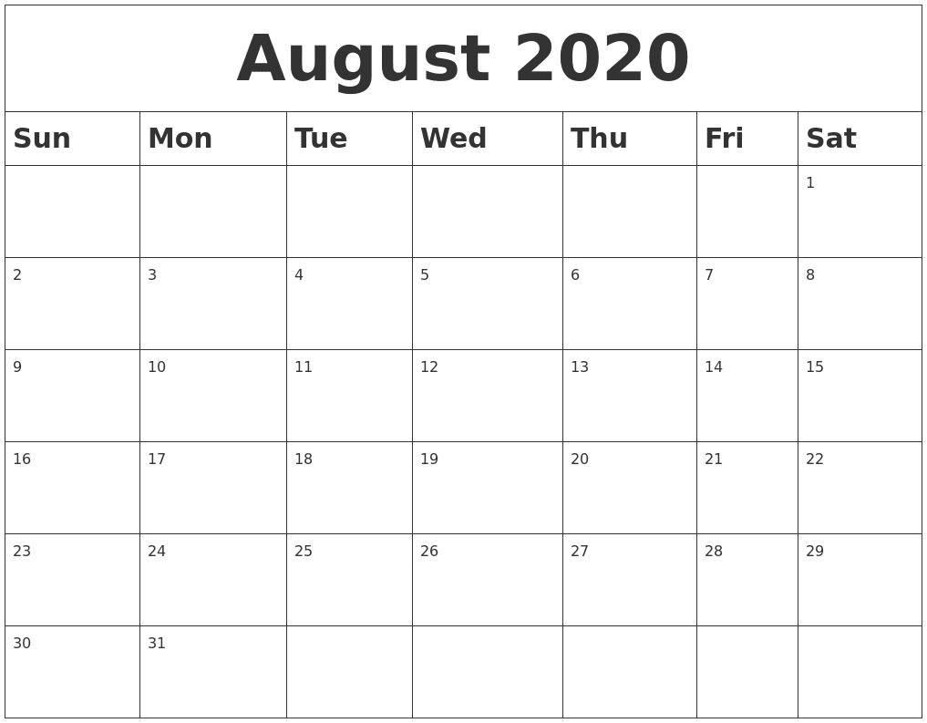 August 2020 Blank Calendar Template