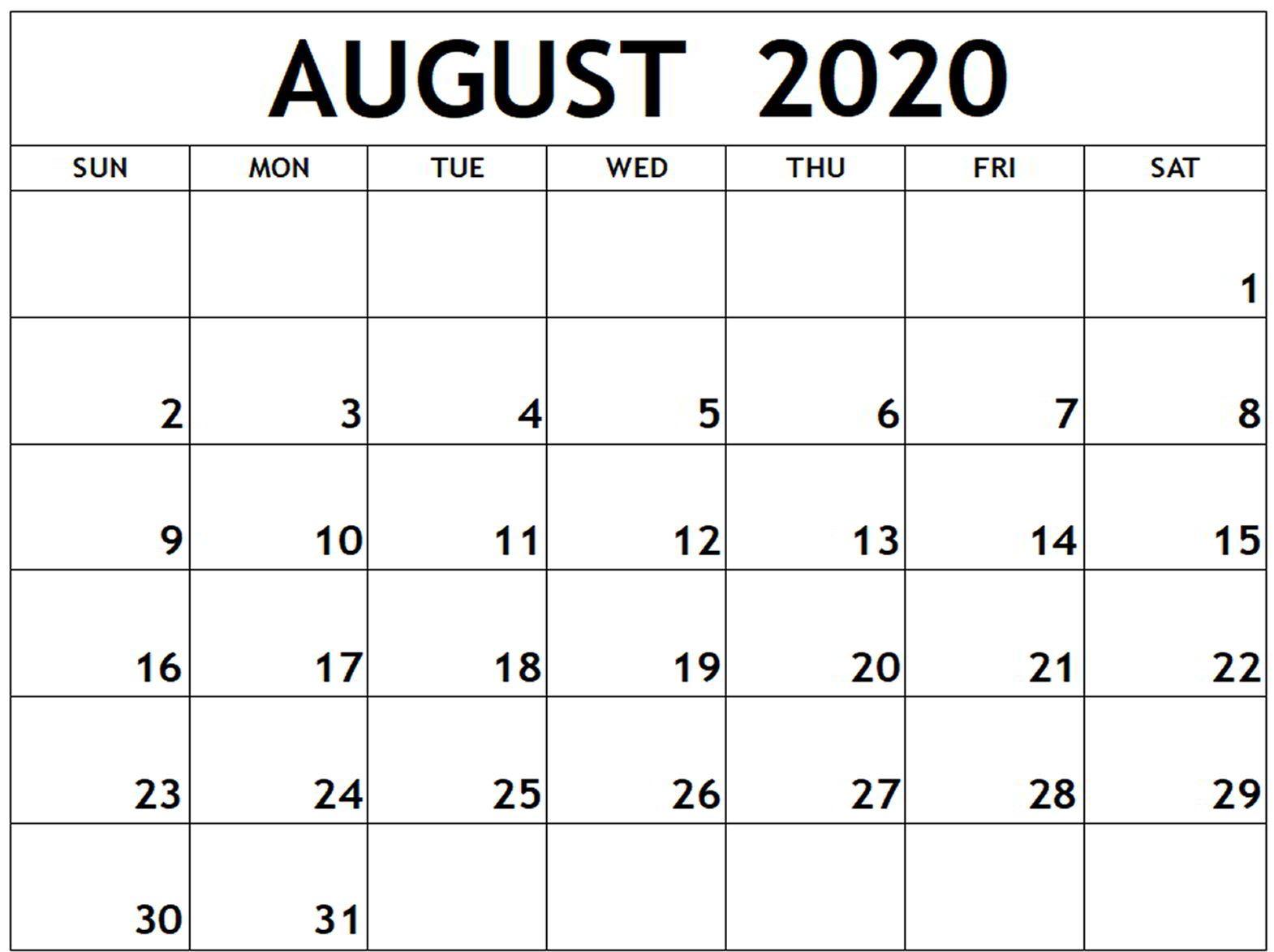 August 2020 Calendar Blank Template
