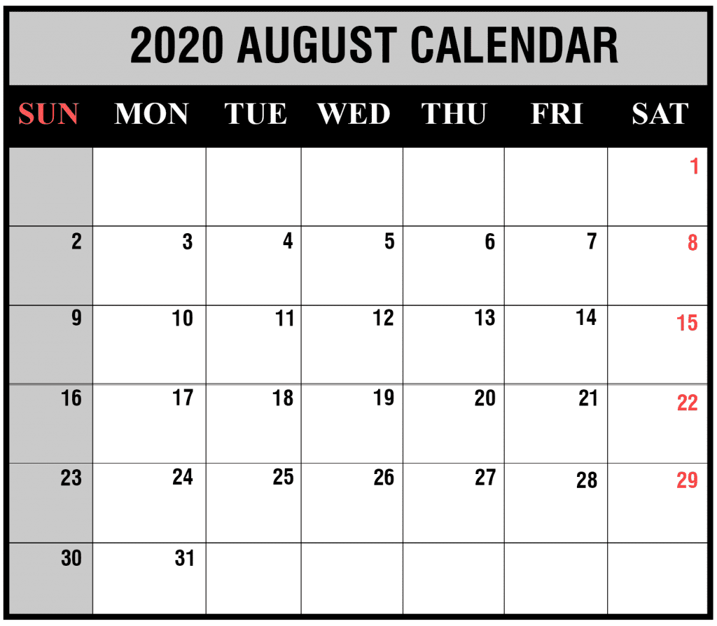 August 2020 Calendar Holidays Template