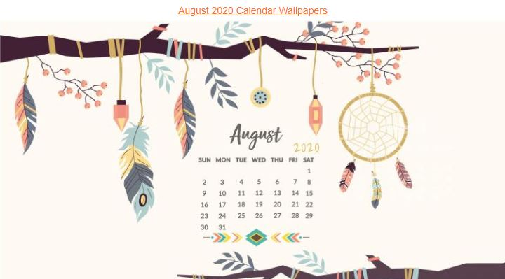 August 2020 Calendar Wallpaper for Laptop