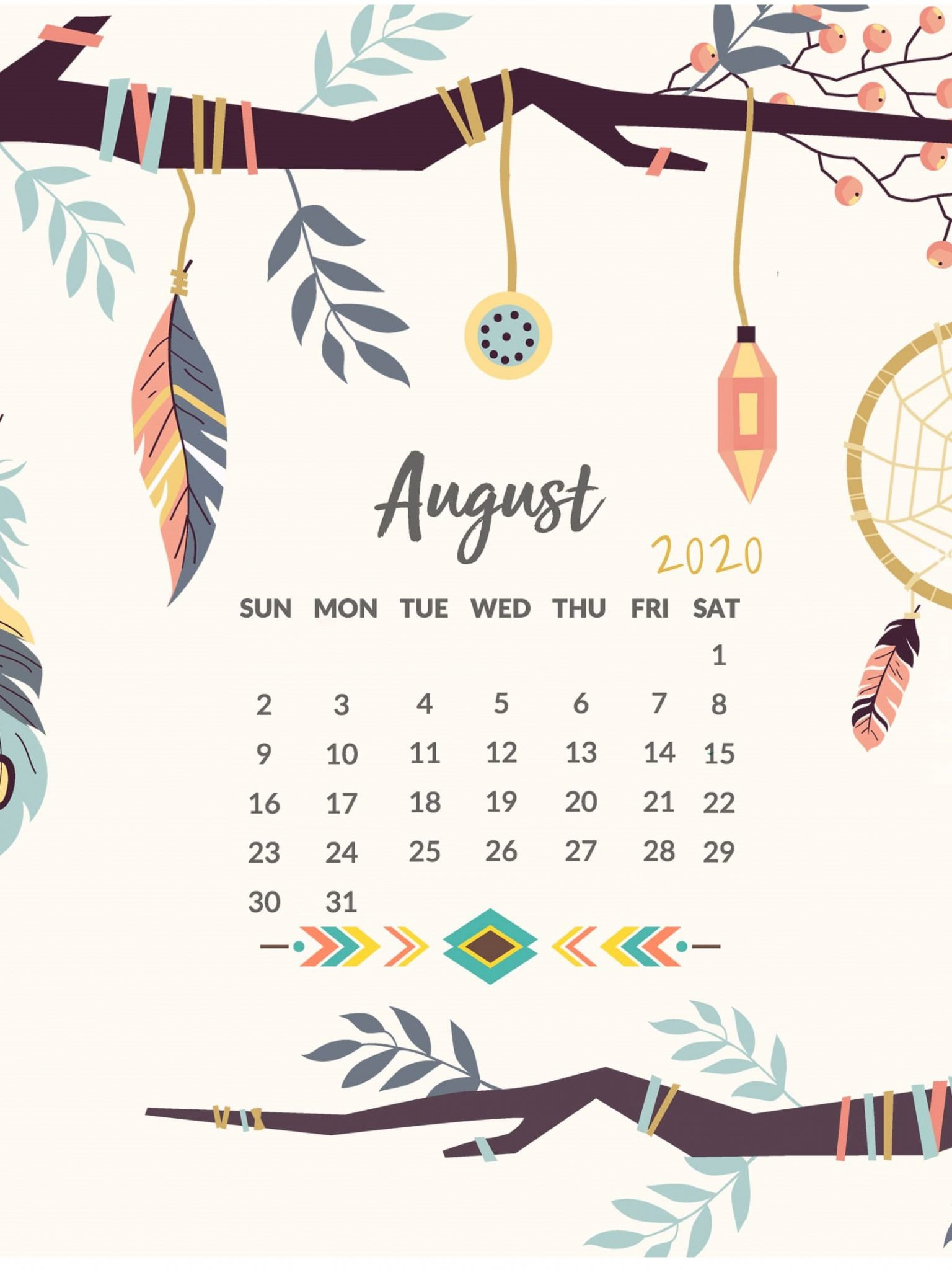 August 2020 Calendar Wallpaper for iPhone
