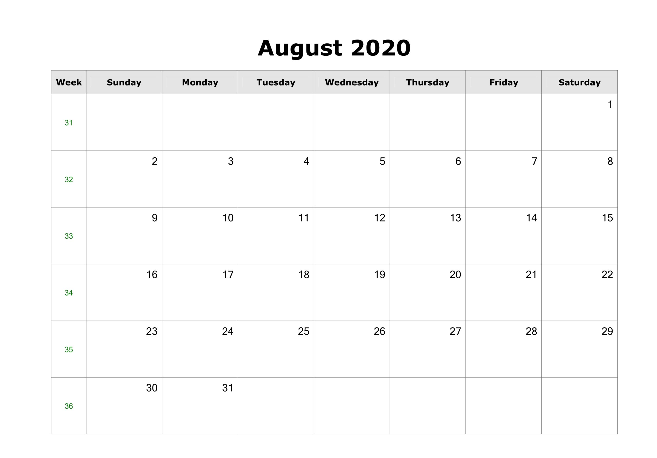 August 2020 Calendar with Holidays Australia