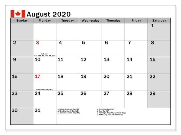 August 2020 Calendar with Holidays Canada