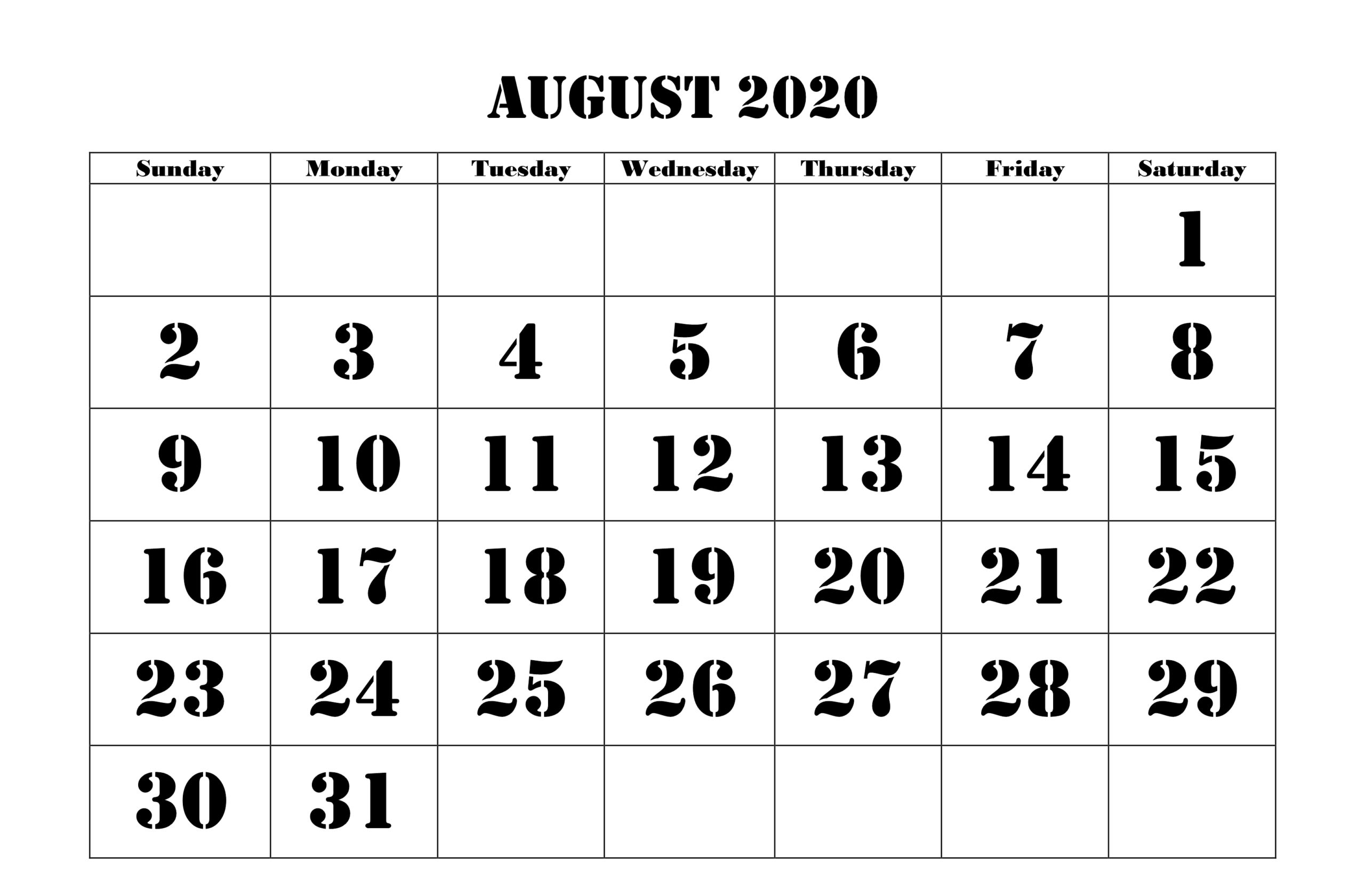 August 2020 Calendar with India