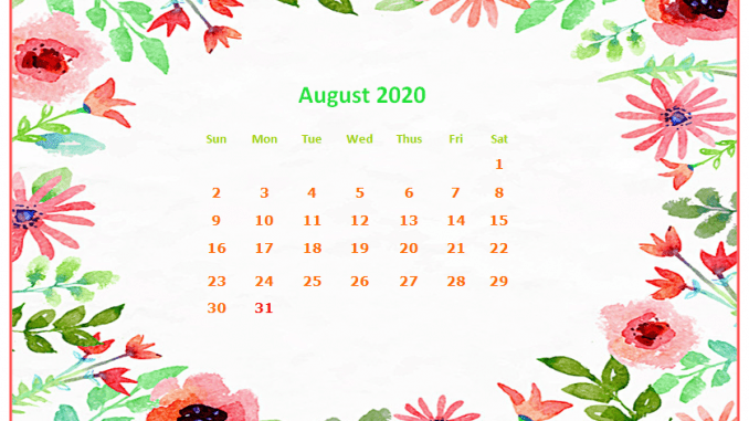August 2020 Desktop Calendar Wallpaper