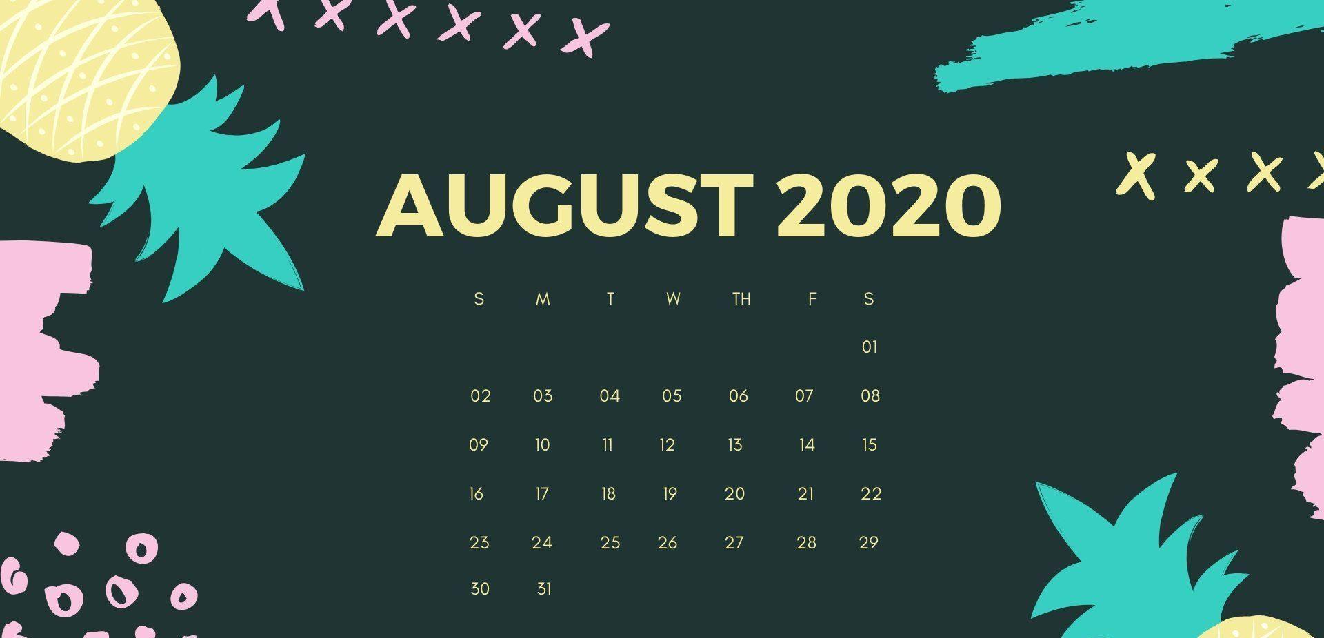 August 2020 Desktop Calendar