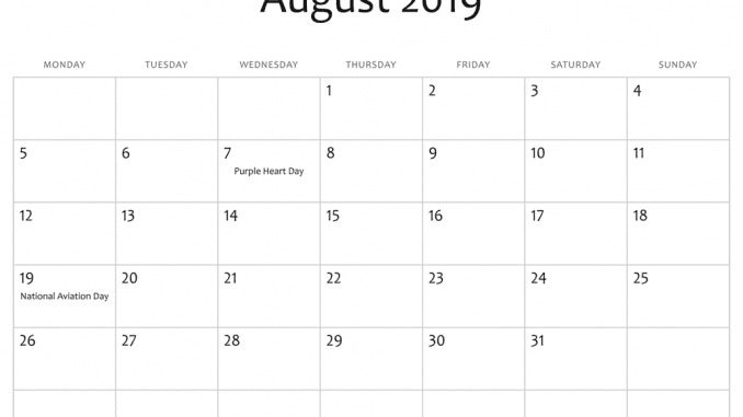 August 2019 Calendar With Holidays.Printable August Holidays 2019 Calendar Usa Uk Canada