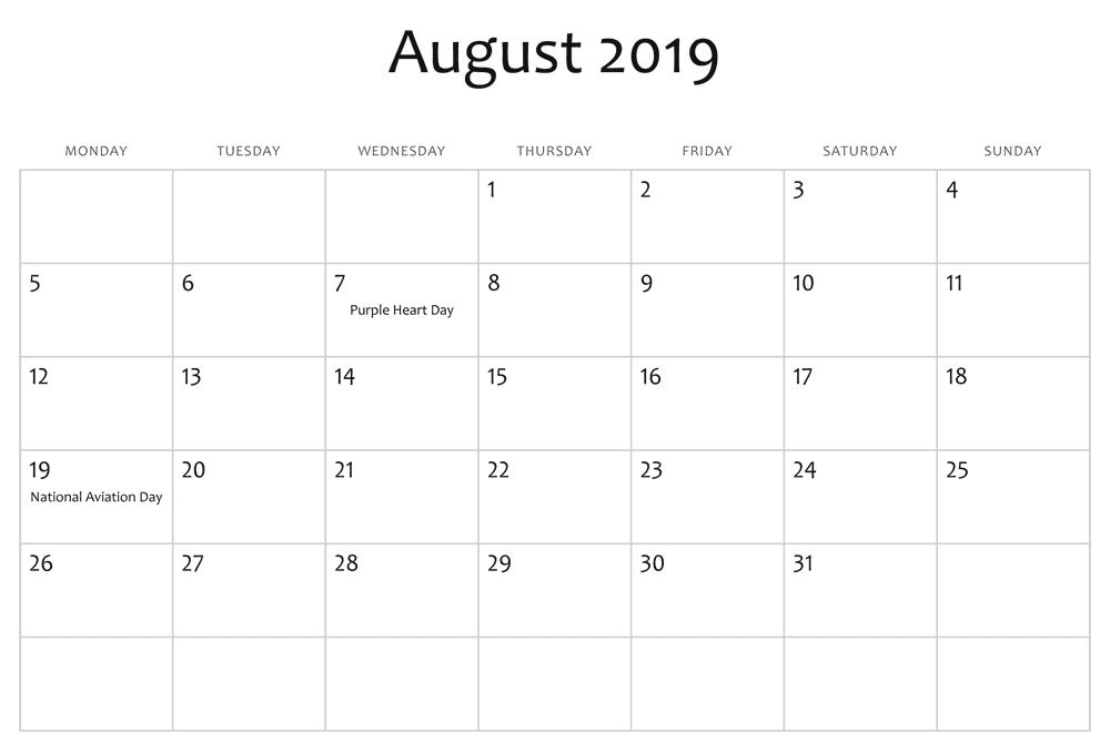 August Calendar 2019 Holidays