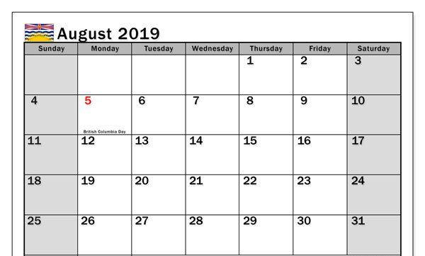 August Holidays 2019 Calendar