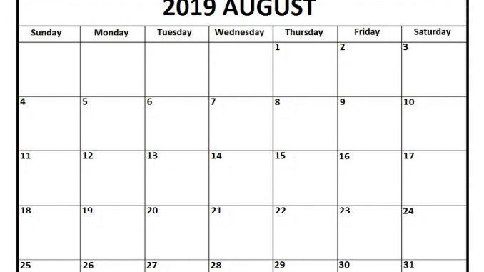 Blank August 2019 Calendar Template