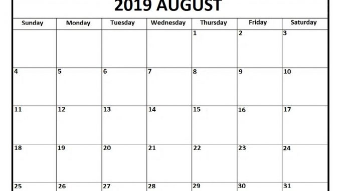picture regarding August Calendar Printable identify Blank August 2019 Calendar Printable Template