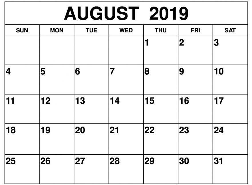 Blank August 2019 Calendar