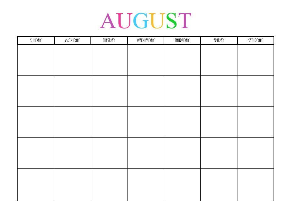 Blank August 2020 Calendar Cute
