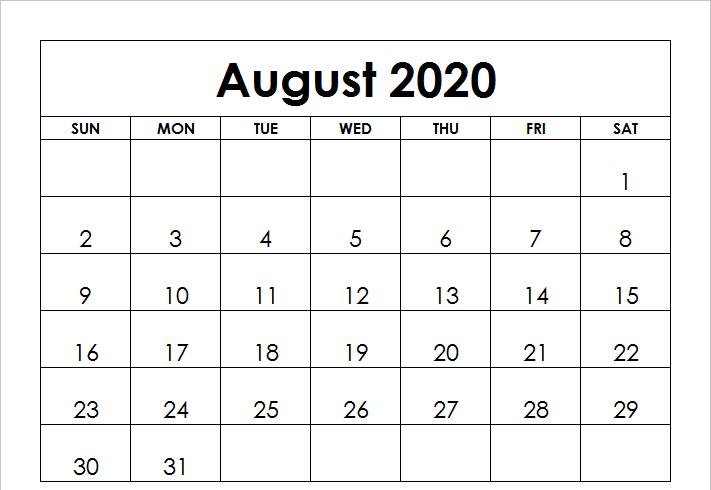 Blank August 2020 Calendar