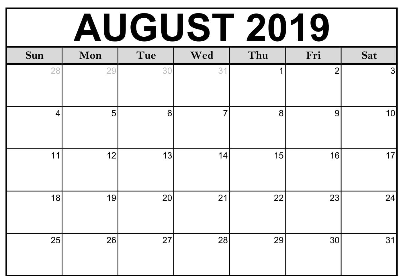 Blank August Calendar 2019