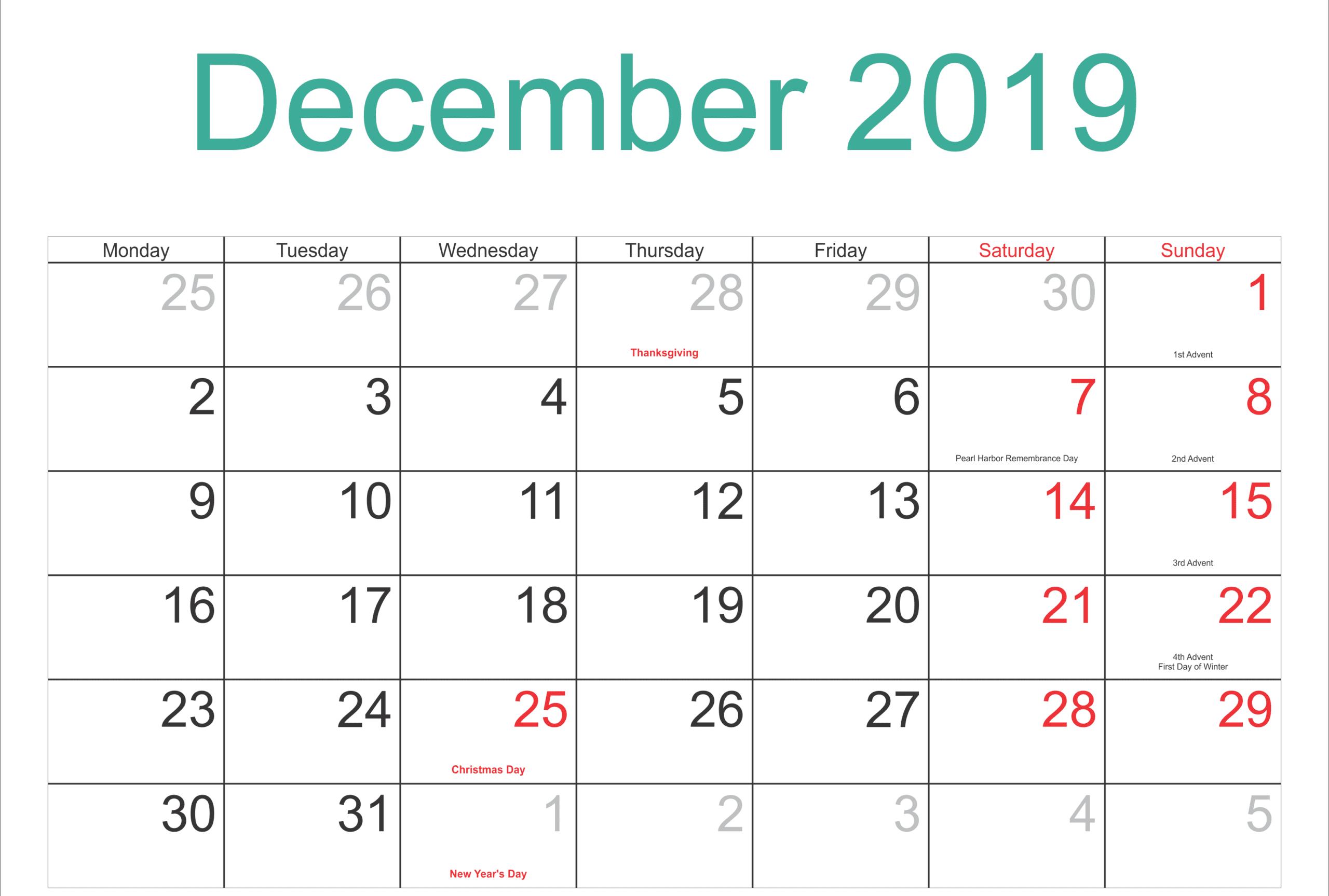 December 2019 Calendar Holidays