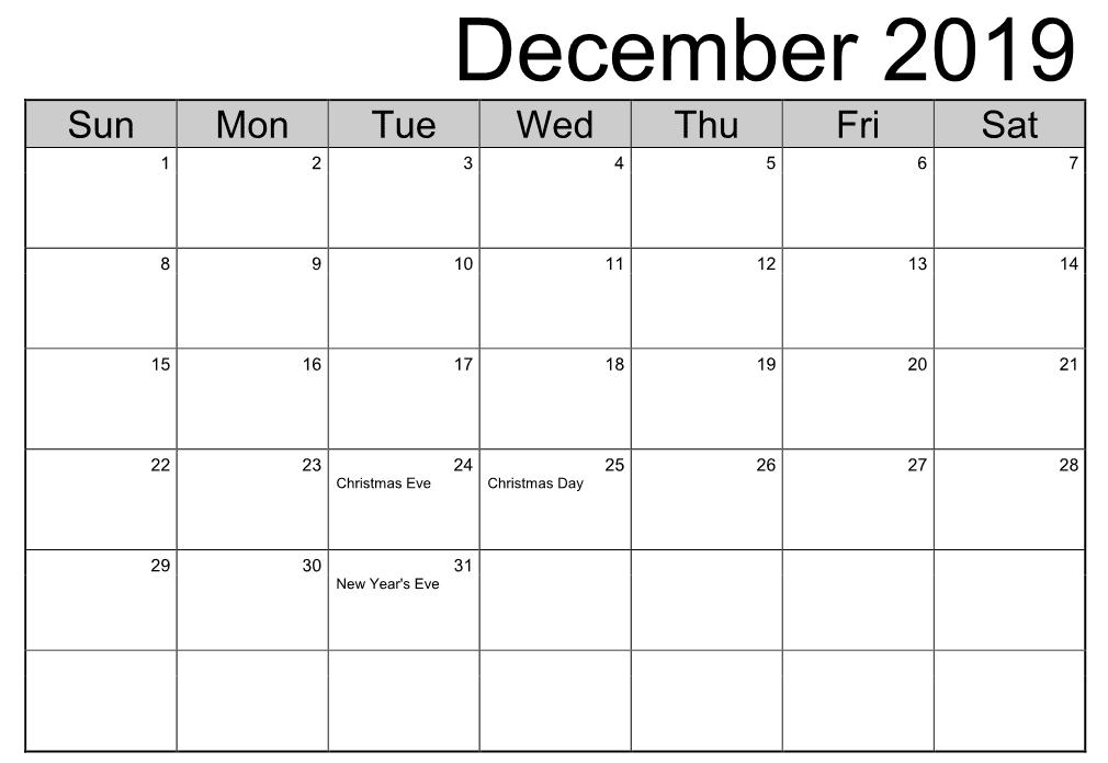 December 2019 Calendar Month Landscape