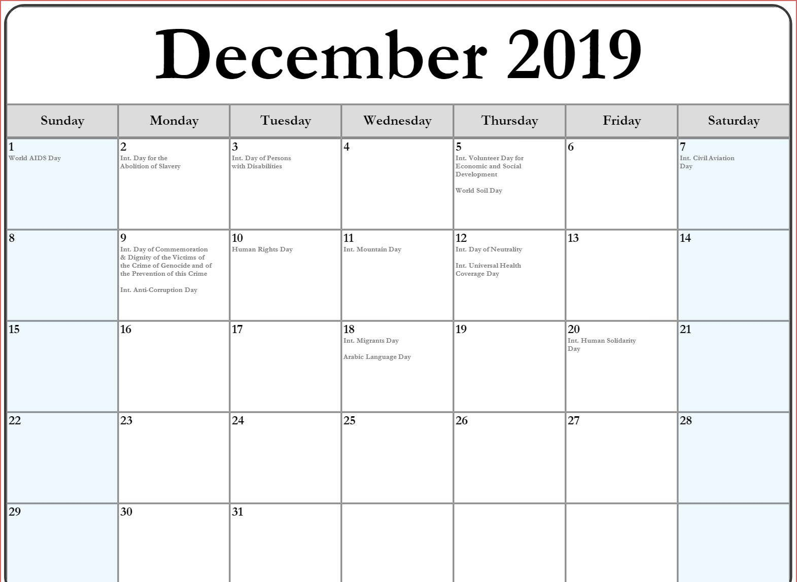 December 2019 Calendar With Holidays US