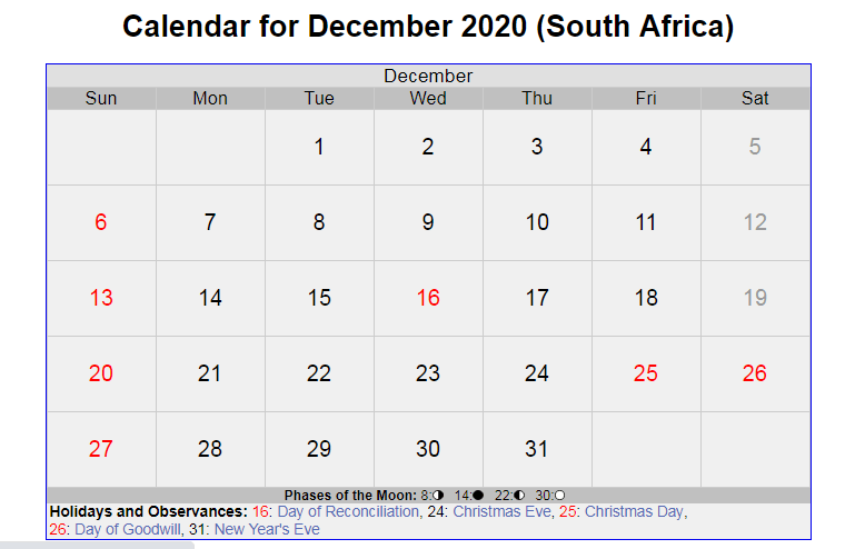 December 2020 Calendar with Holidays South Africa