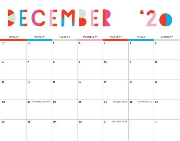 December Holidays Calendar 2020