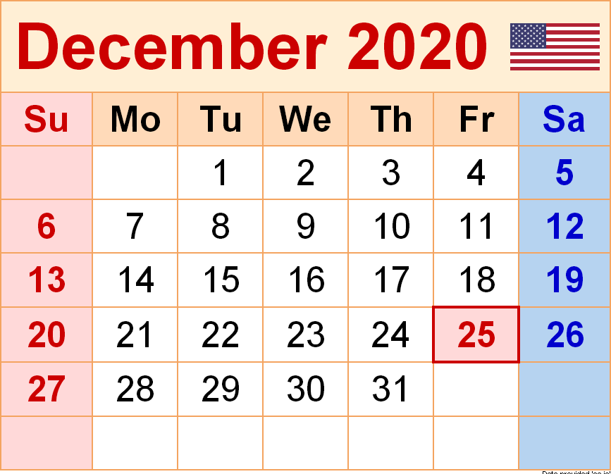 December USA Holidays Calendar 2020