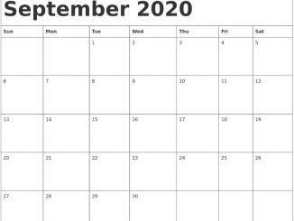 Editable September Calendar 2020