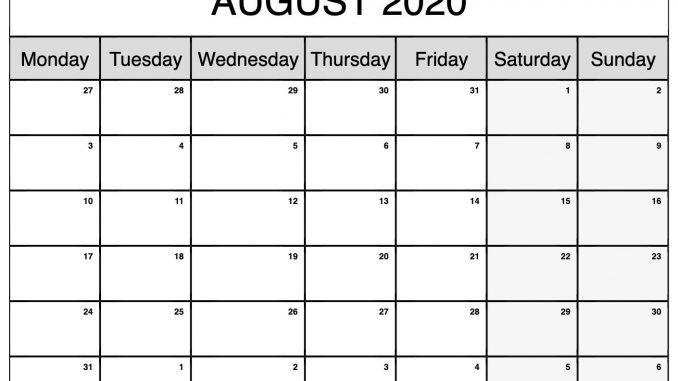 Fillable August 2020 Calendar Blank Template
