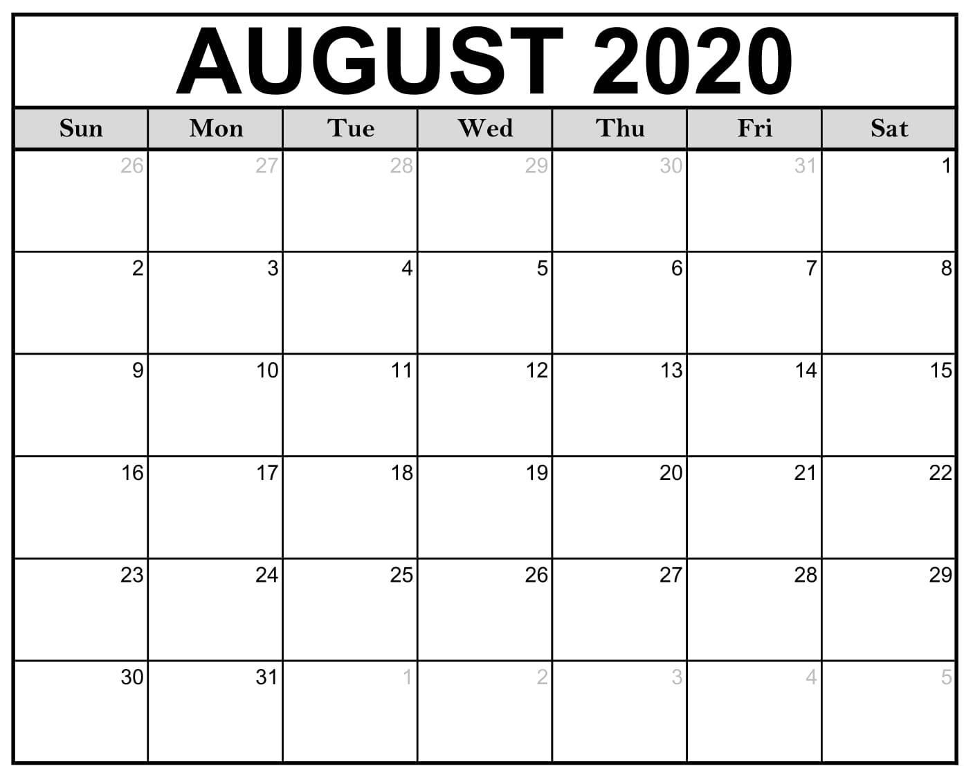 Fillable August 2020 Calendar Template