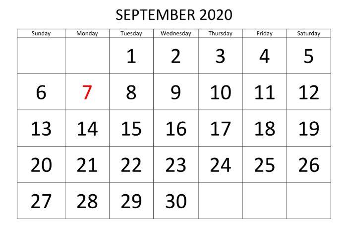 Fillable Calendar September 2020