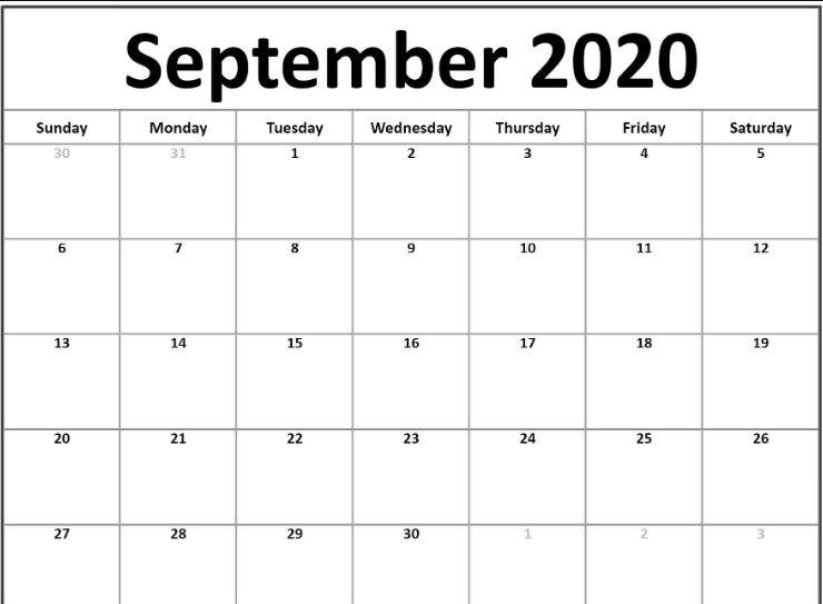 Fillable September 2020 Calendar Templates