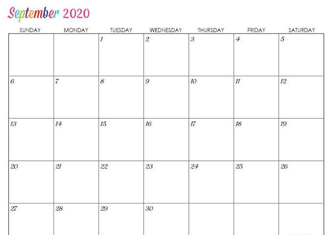 Fillable September Calendar 2020