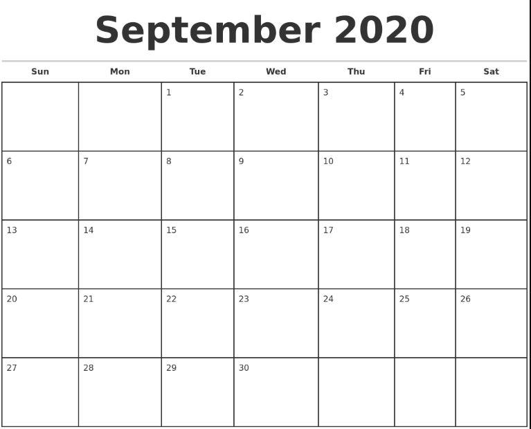 Free Blank September Calendar 2020