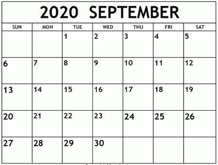 Free Fillable September Calendar 2020
