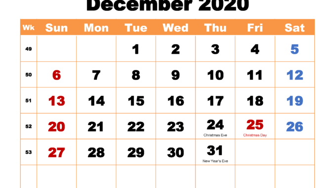 Holidays Calendar Template December 2020