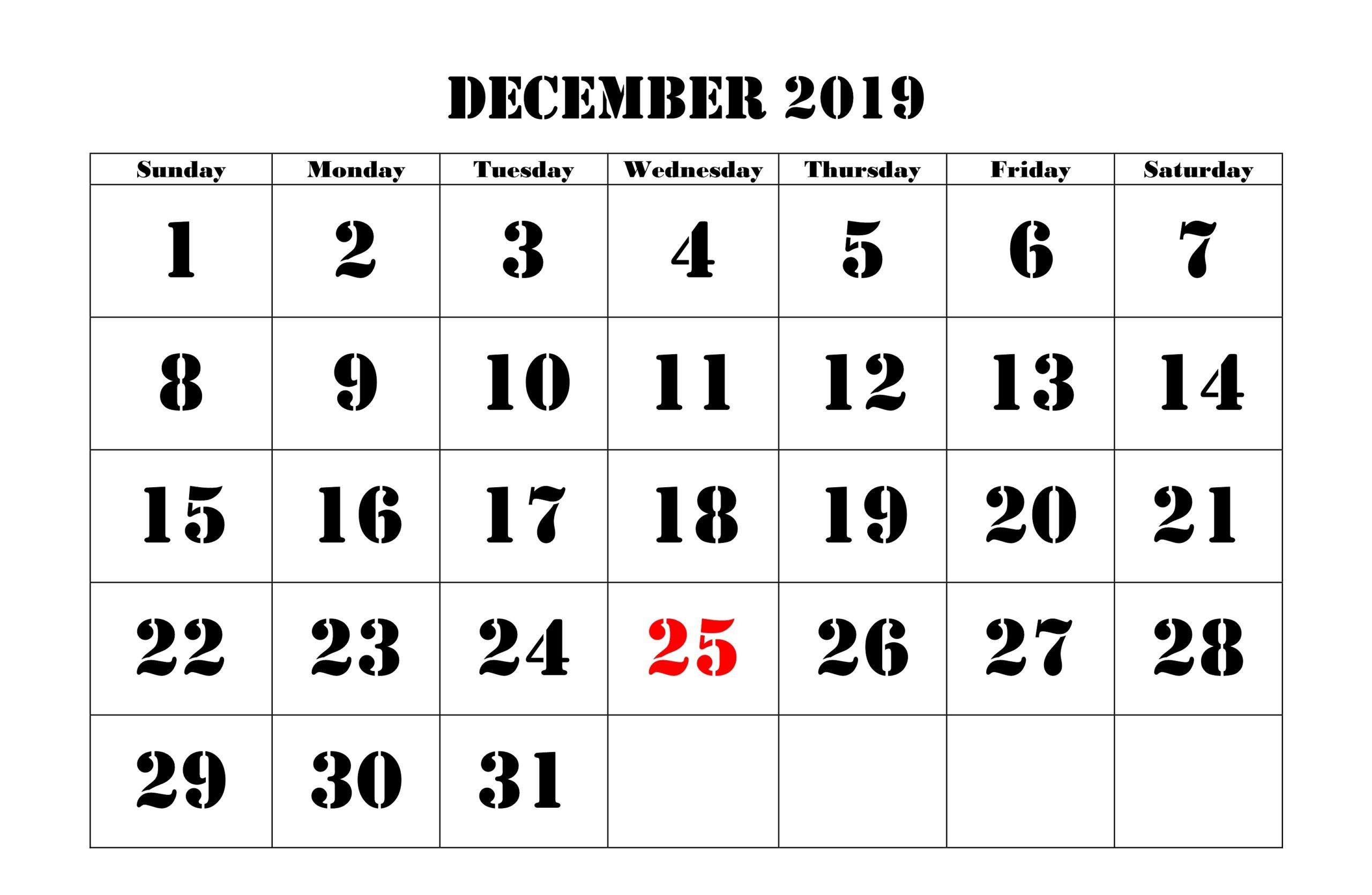 Holidays Calendar for December 2019