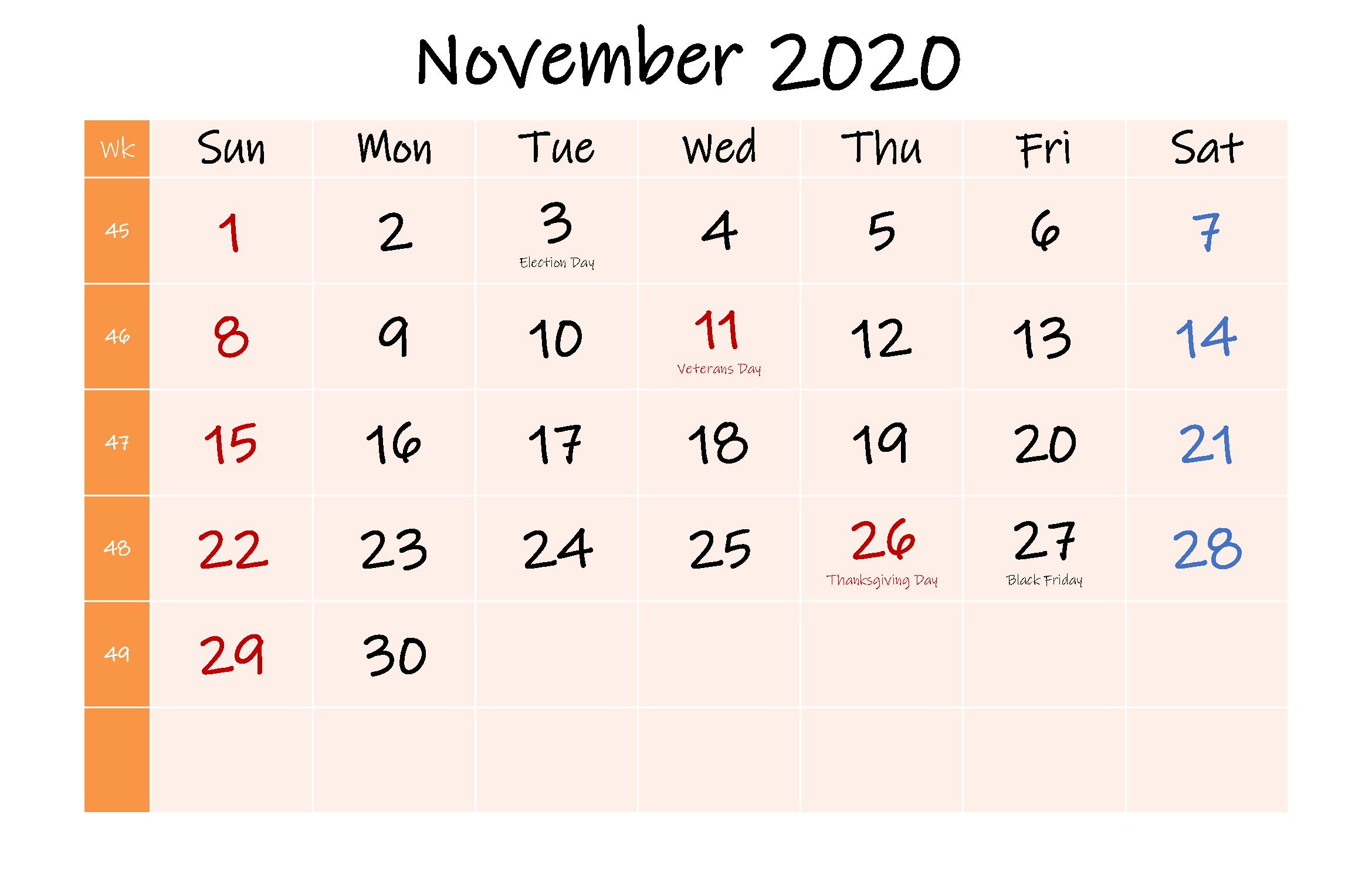 November 2020 Australia Holidays Calendar
