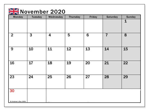 November 2020 Calendar with Holidays UK