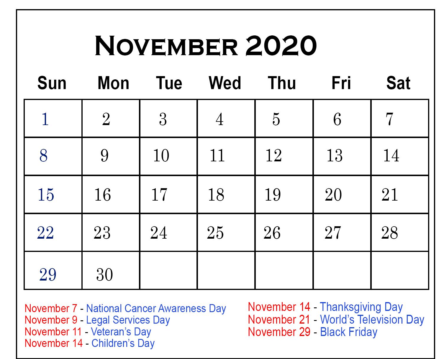 November 2020 Federal Holidays Calendar